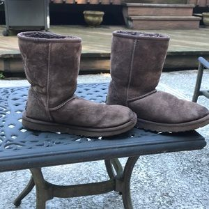 Women's Ugg short boots chocolate brown